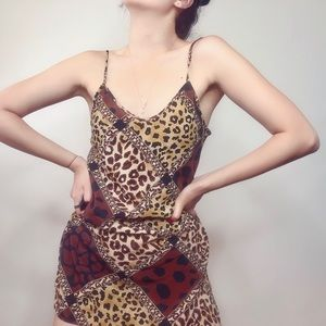 Vintage Leopard Print Mini Slip Dress